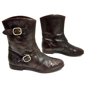 UGG Brown Leather Midcalf Boots w/ Gold Buckles